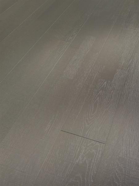 Parkett Trendtime 6 Living Eiche grau matt lackiert 3-Stab Sägestrukt. Schiffsboden gefast