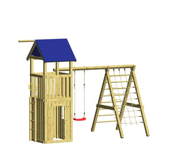 WINNETOO Spielturm mit Schaukel und Kletternetz