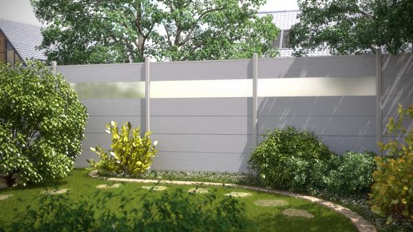 WPC Sichtschutz mit Glaseinsatz