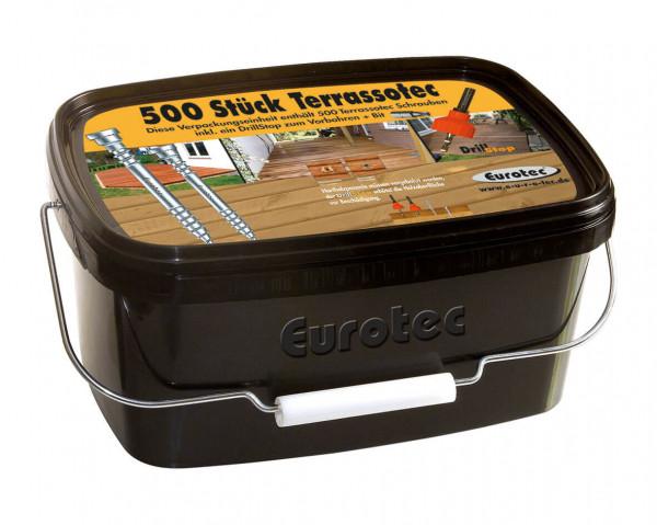 Terrassendielen Schrauben A2 5,5 mm (im Eimer 500 Stk. inkl. Bohrer und Bit)