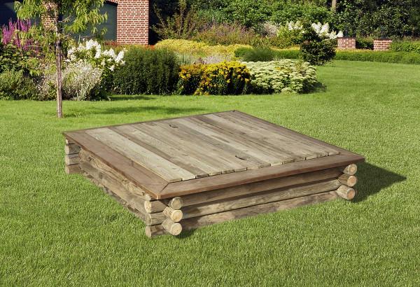 Holzabdeckung für Rundholzsandkasten